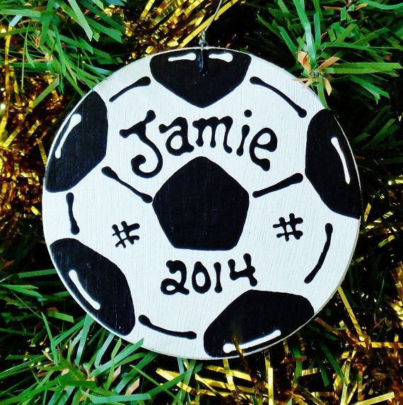 U CHOOSE Name & Date Personalized SOCCER BALL Ornament