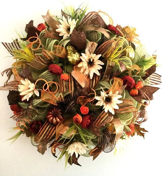 Fall Mesh Wreath  Mesh Wreaths For Sale   by ArtificialWreaths
