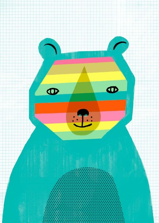 Wonky Rainbow Bear by Sarah Walsh for Oopsy Daisy