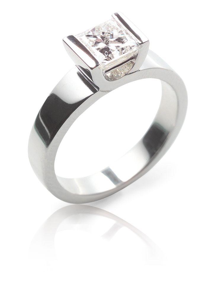 Rosendorff Diamond Solitare Ring- a contemporary cross-over, half-bezel style setting with a stunning Rosendorff Princess cut diamond