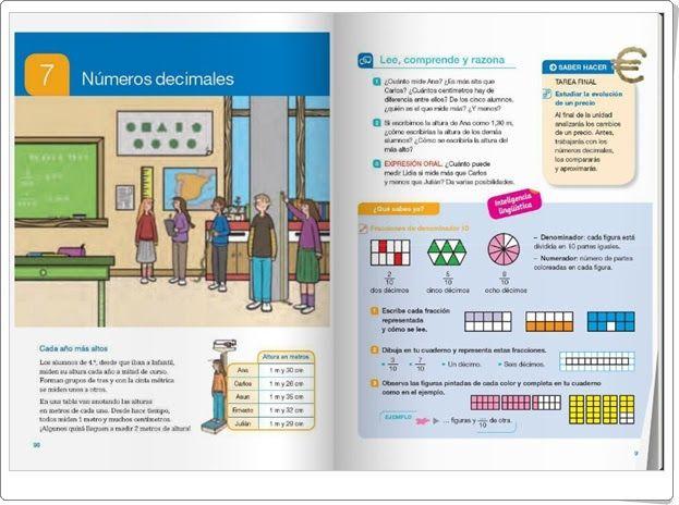 """Unidad 7 de Matemáticas de 4º de Primaria: """"Números decimales"""""""