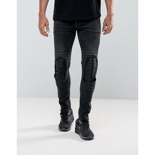 ASOS Super Skinny Jeans In Washed Black Biker With Leather Look Rip... ($64) ❤ liked on Polyvore featuring men's fashion, men's clothing, men's jeans, black, mens distressed jeans, mens biker jeans, mens distressed skinny jeans, mens skinny fit jeans and mens skinny biker jeans