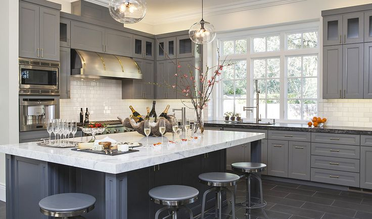 Industrial Barstools | Pendant Lighting | Kitchen Cabinetry | Blue Gray Color | Home Ideas | Interior Design