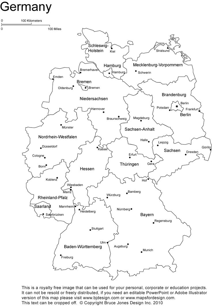simple black and white map of Germany