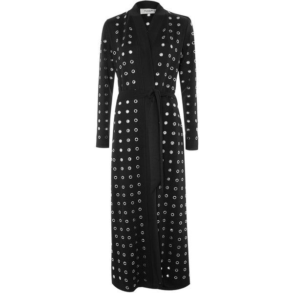 Rivet Detail Long Duster Coat by Club L (£90) ❤ liked on Polyvore featuring outerwear, coats, black, duster coat, club l, long length coats, long coat and long duster coat
