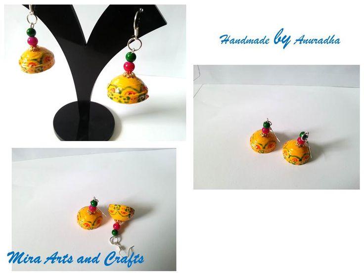 Hand painted yellow jhumkas | Quilling Jhumkas | Pinterest
