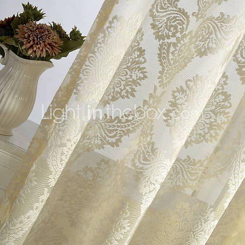 En panel Rustik / Modern / Nyklassisistisk / Europeisk / Designer Blommig/Botanisk Elfenben Bedroom Polyester Sheer gardiner Shades 4111879 2017 – $31.99
