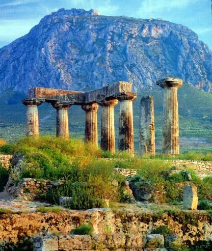 Temple of Apollo in ancient Corinth, Greece. Corinth was an ancient city in Greece which was evangelized by the apostle Paul. He later sent them two letters which became part of the New Testament.