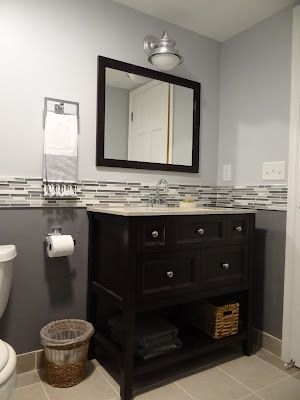 This will be the boys new vanity, love the mix of grey, blue and cream/white for their bathroom.
