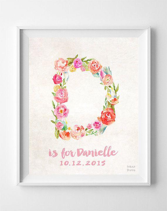 Personalized Print Danielle Custom Name Nursery by InkistPrints