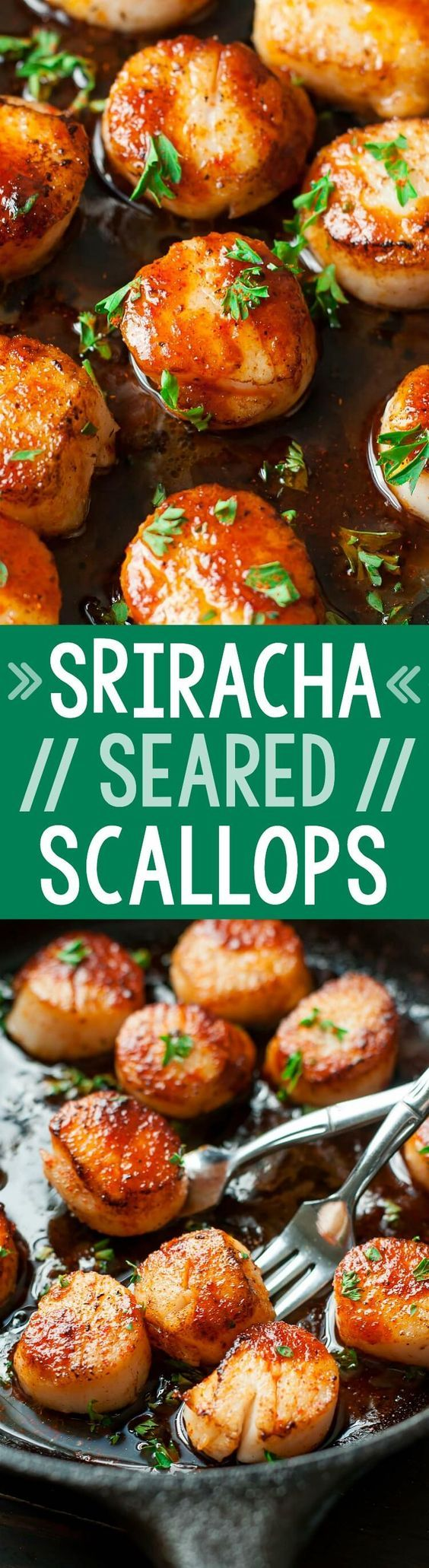 These quick and easy Sriracha Glazed Seared Scallops are finished off with a spicy + super flavorful homemade Sriracha pan sauce! Delicious!