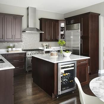 Cabinets Dark Brown Kitchen Island With Wine Cooler M Dark Brown Kitchen  Cabinets Island Wine Cooler Gray Glass Tile Backsplash