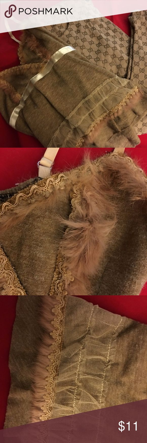 """Olive Khaki Hand Made Cami Top Lace & Fur TOP ONLY! Super sexy little top, with lace, ribbon and fur trim. No labels, this was made by my friends mom. Has adjustable elastic straps. Size would be """"one size fits most"""" I guess. Slacks are available separately. Please ask if interested. Hand Made Tops Camisoles"""