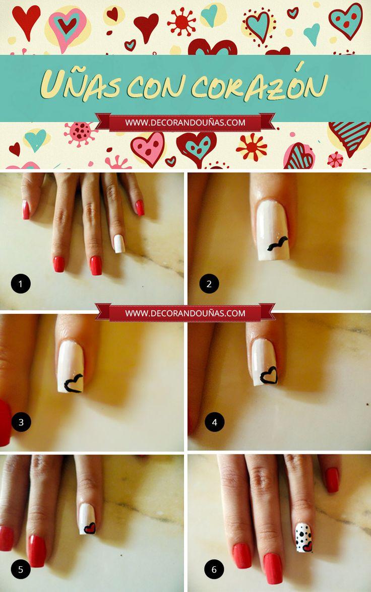 Hermoso tutorial de Uñas decoradas con Corazones - http://xn--decorandouas-jhb.com/hermoso-tutorial-de-unas-decoradas-con-corazones/