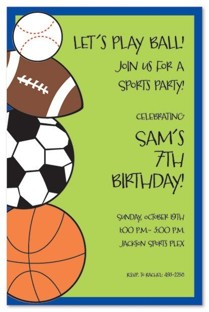 84 best Sports Theme birthday party images on Pinterest Birthdays - fresh birthday party invitation ideas wording