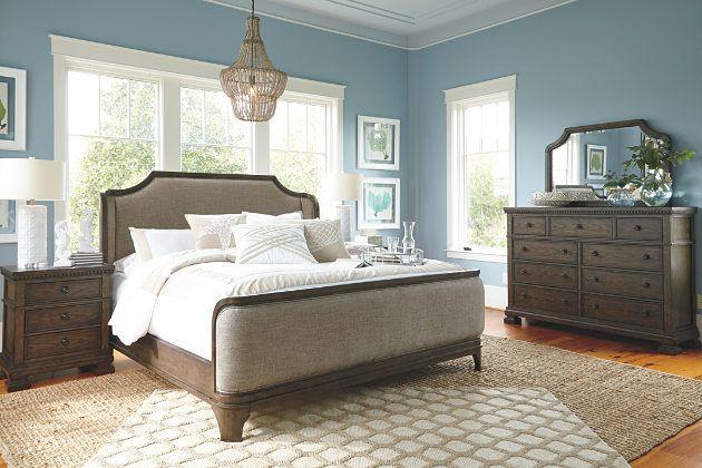 Grayish Brown Larrenton Queen Panel Bed View 3 I WANT IT