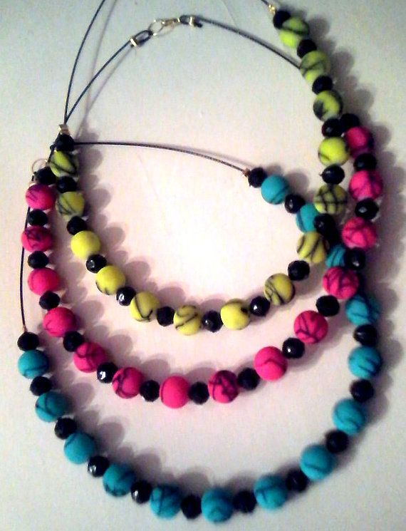 new fluo neclaces / three colors by KaterinakiJewelry on Etsy, $8.20