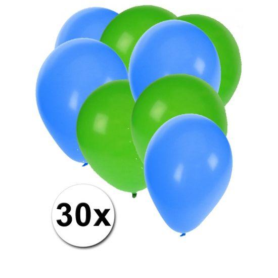 Groene en blauwe ballonnen 30 stuks  30 stuks ballonnen in de kleuren groen en blauw. Van elke kleur 15 ballonnen leuk voor verjaardagen en themafeesten. Formaat is ongeveer 27 cm. Goede kwaliteit.  Dit artikel bestaat uit: 1x Blauwe ballonnen 15 stuks 1x Groene ballonnen 15 stuks  EUR 2.99  Meer informatie
