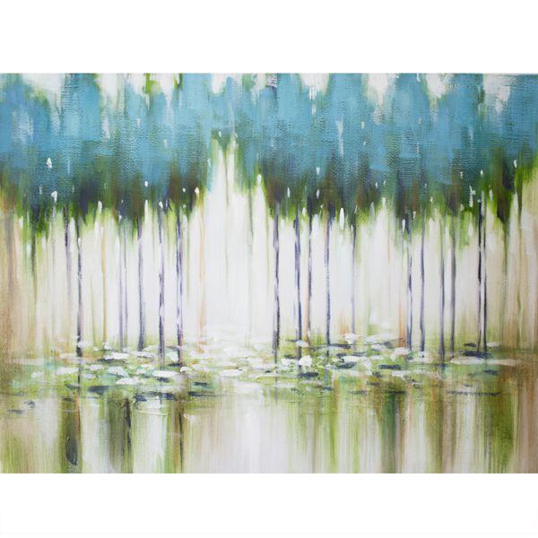 Tableau abstrait arbres bleus, peint à la main à l'huile lustré 36x48''