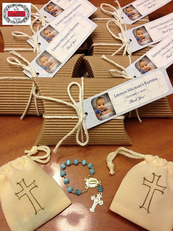 Natural : Glass Mini Rosary in Kraft Pillow Box Baptism Favors (20 pcs) on Etsy, $85.00