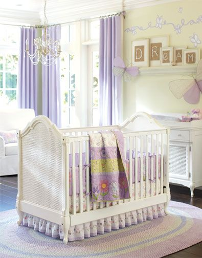 Summer garden style nursery with lilac accents.