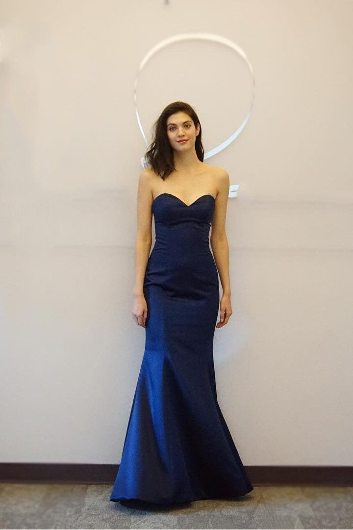 Dark Navy Sweetheart Sleeveless Floor-Length Solid Mermaid Prom Dress – JoJoBride #wedding #party #love #partyideas #partyfood
