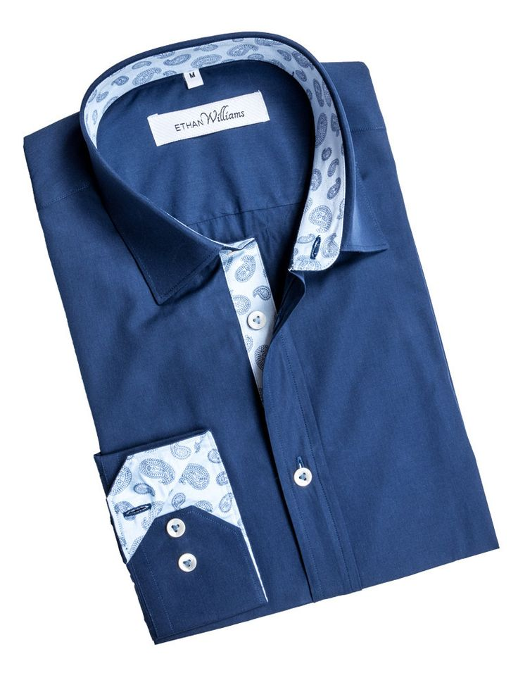 Ethan Williams Navy Sateen Cotton shirt with white Paisley liner - Alexandra