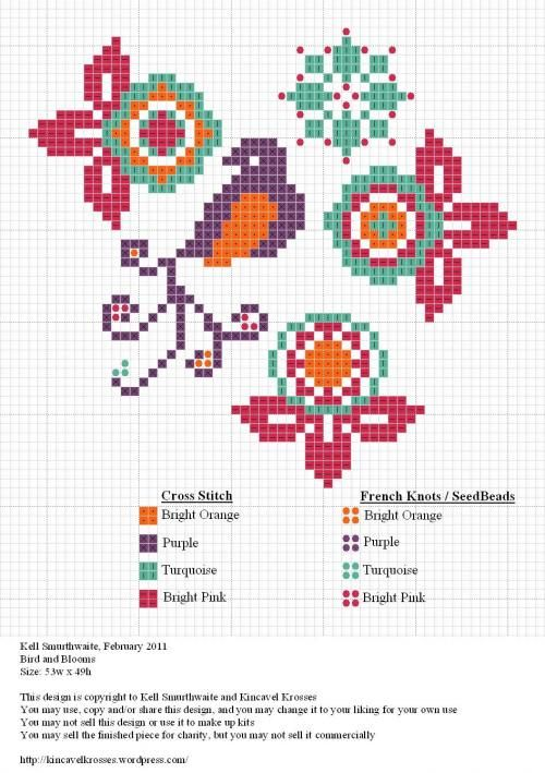 Birds and blossoms. Free sewing pattern graph for cross stitch.