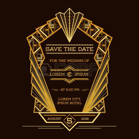 保存日付 - ベクトルの結婚式招待状 - アールデコ ビンテージ スタイル-