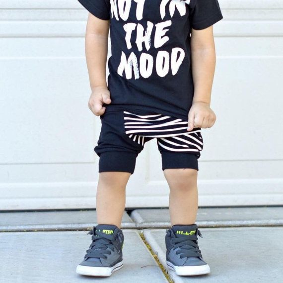 Black toddler harem shorts / Hipster baby boy by PoshKiddosapparel
