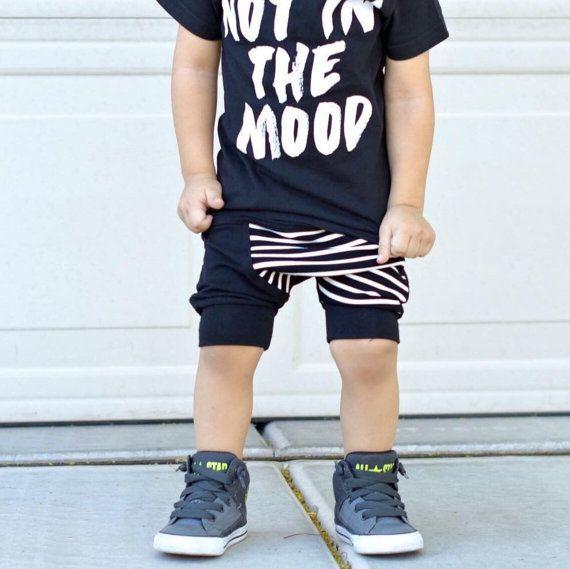Black toddler harem shorts / Hipster baby boy by PoshKiddosapparel