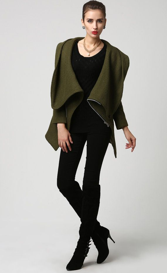 Moss Green jacket short coat wool coat Womens jackets от xiaolizi
