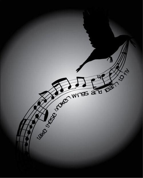 blackbirdMusic Wings Tattoo, Blackbird Fly, Tattoo Ideas, Beatles Blackbird, Black Birds Songs, Blackbird The Beatles, A Tattoo, Singing Songs Lyrics Note, Blackbird Singing