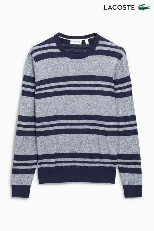 Buy Lacoste® Navy/Grey Stripe Crew Neck Knit Jumper from the Next UK online shop