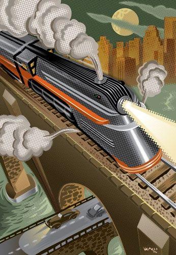 Velocidad características del futurismo representando los avances de la tecnología de la época industrial.