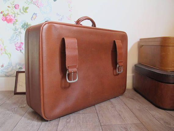 Valise vintage marron valise skaï vintage valisette 1960