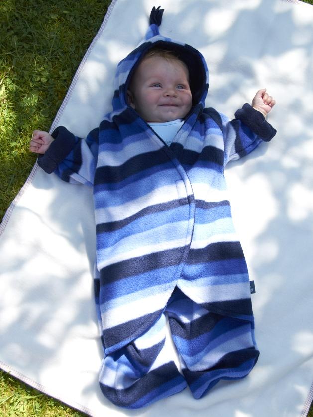 Monty modelling the Blue Stripe Fleece Babysnuggle