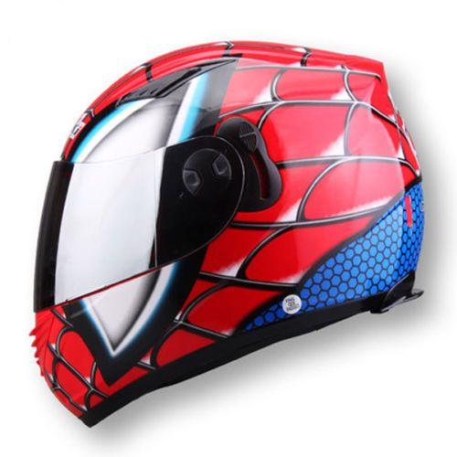GB Approved Double Lens Motorcycle Full Face Helmet Spider Man Iron-Man M L XL #NENKI