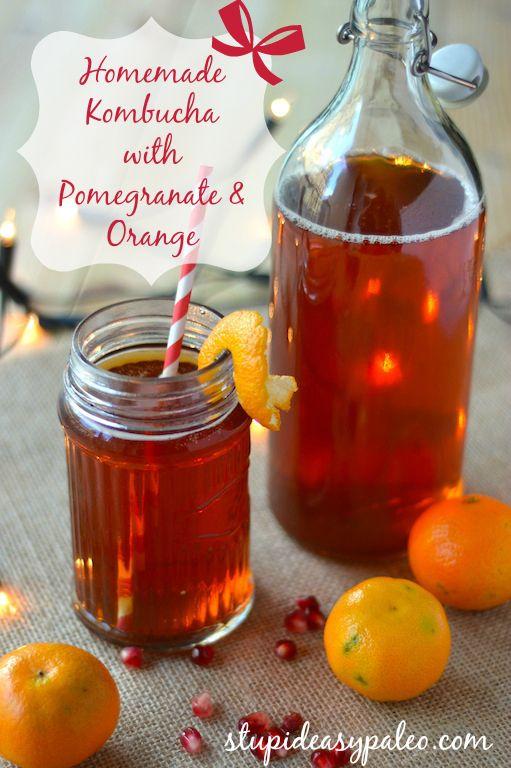 {NEW} Kombucha Recipes for the Holidays: Pomegranate Orange! Click here for the recipe --> stupideasypaleo.c... #kombucha #holiday #paleo #fermented