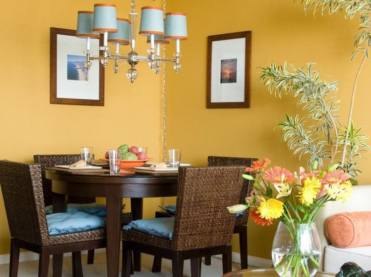 Dining Room:Breathtaking Yellow Dining Room Color For Wall With Rattan Dining Chair And Round Shape Dark Wooden Dining Table Idea Dining Room Paint Colors You Should Totally Pick This Year