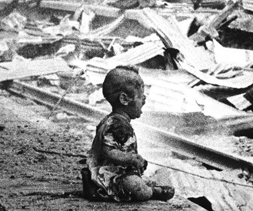 """""""Bloody Saturday"""" – Depicting a Chinese baby crying within the bombed-out ruins of Shanghai South Railway Station, the photograph became known as a cultural icon demonstrating Jap…"""