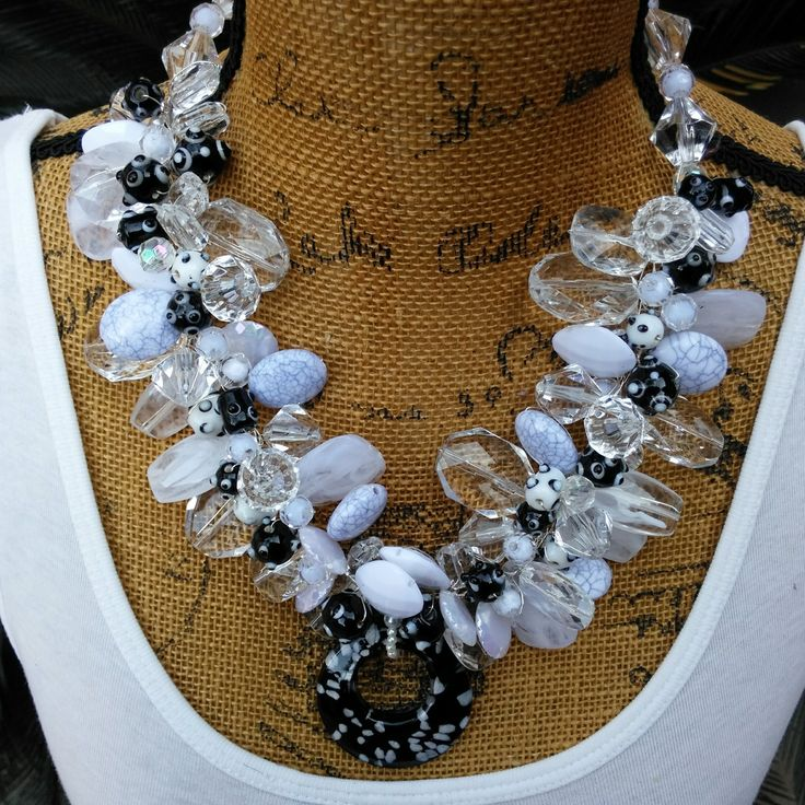 LOVE Jewelry Sale 25% Off Use Code: LOVE25 White and Black Statement Necklace, Chunky Necklace, OOAK Statement Collar