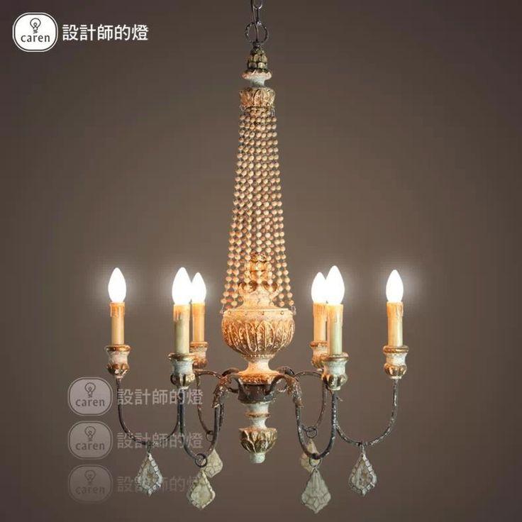Американский ретро сельского ветер бар ресторан в европейском стиле гостиной деревянные бусины шесть люстра кристалл E27(China (Mainland))