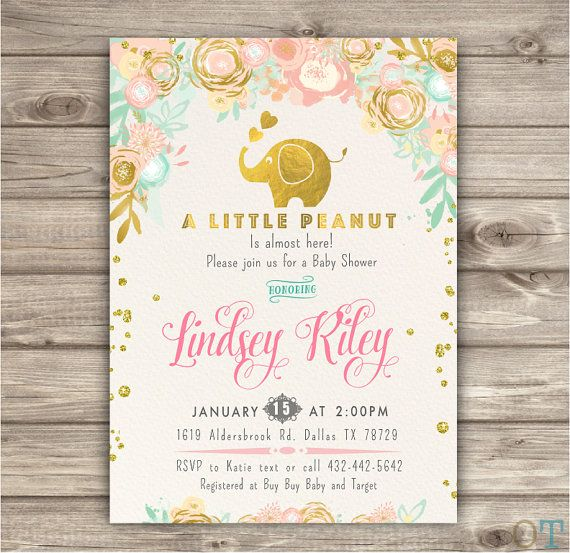 A little Peanut Elephant Baby Shower Invitations by cardmint