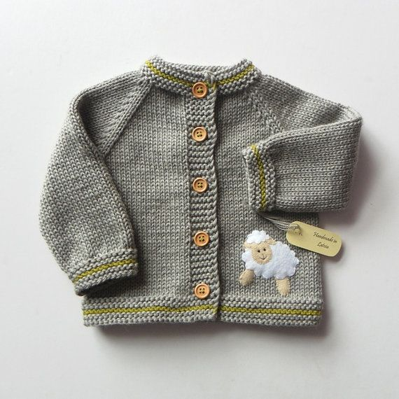 Knit kids jacket with white sheep grey baby merino sweater MADE TO ...