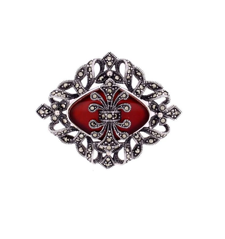 Red Agate Marcasite Brooch/Pendant €145.00 Sterling Silver  Red Agate Stone This Stunning Brooch can also be worn as a pendant.