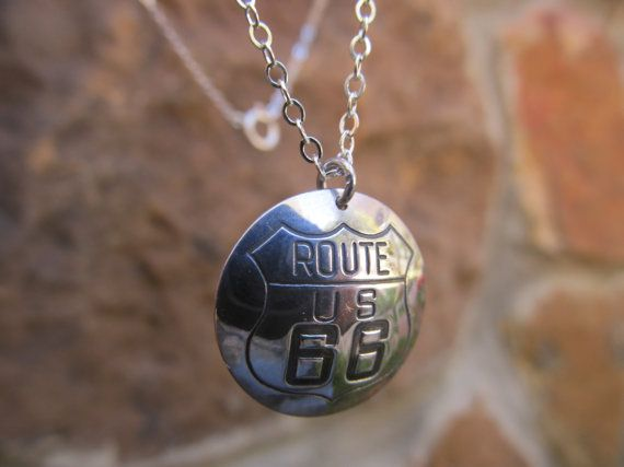 Route 66 Highway Pendant and Chain Sterling by FayWestDesigns, $28.00