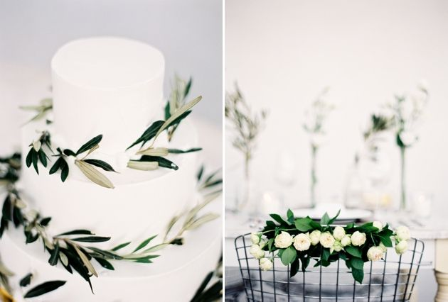 Wedding Cake decorated with olive brunches for our Fall Wedding in Santorini. Stella & Moscha Weddings - Photo: Jen Huang