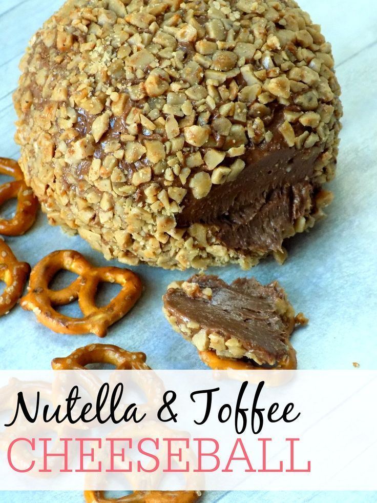 Looking for an easy treat for a party? Try this delicious Nutella and Toffee Dessert Cheeseball. Serve with pretzels for that perfect sweet and salty combination everyone will love!