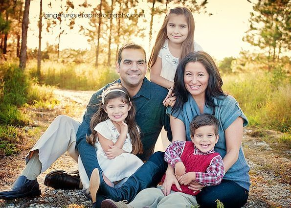 Family of five pose